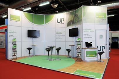 exhibition stand with interactive work stations